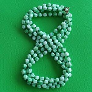 """Pale green slag glass vintage 54"""" necklace"""